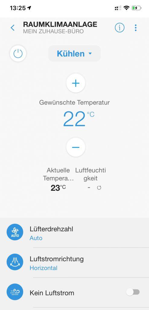 Bedienung der Klimaanlage über ein Smartphone